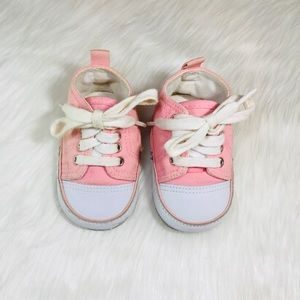 Other - Pink Leather Canvas Baby Sneakers